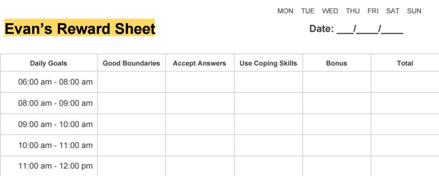 Sample Reward Sheet